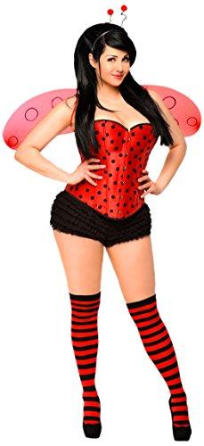 Daisy Höschen (Daisy Corsets, Damen-Kostüm, 5-teilig - Rot - X-Large)