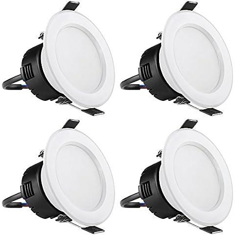 LE Pack de 4 focos LED empotrables, ángulo de haz 90°, flujo luminoso 210lm, luz blanca cálida (3000K), consumo 4W, equivalentes a bombillas halógenas de 30W, diámetro de perforación 75mm, lámpara empotrable para