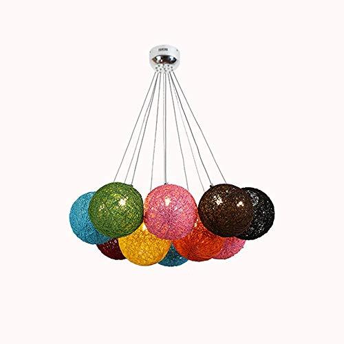 ZLL Chandelier-Lampes Suspendues 10 Porte-Lampe G4 Couleur Rotin Art Boule Circulaire Lustre 65 * 35Cm