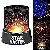 Pramukh Star Master Colorful Romantic LED Cosmos Sky Starry Moon Beauty Night Projector Bed Side Lamp With USB Cable (Black)