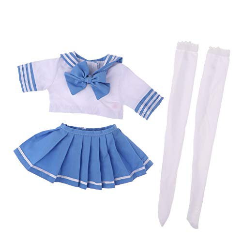 Mädchenpuppe Schüler Schuluniformen Kostüm Kleidung Set für 1/3 BJD weibliche Puppen - C ()