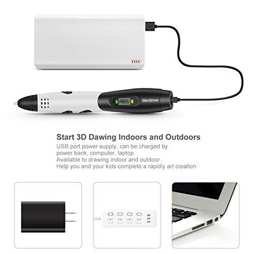Ledyoung 3D Stift, 3D Druck Stift mit LCD Bildschirm für Kinder, Packung mit 1 Stift und 1.75mm PLA Filament von 16 Verschiedenen Farben (Für EU, Schwarz + Weiss) (for EU, White) - 4