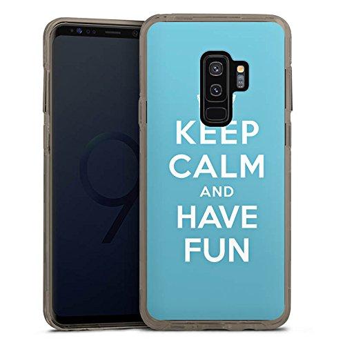 DeinDesign Samsung Galaxy S9 Plus Bumper Hülle grau transparent Bumper Case Schutzhülle Keep Calm Fun Phrase