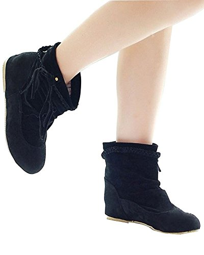 Minetom Mujer Otoño E Invierno Calentar Botas De Flecos Moda Zapatos Cargadores Cómodo Botines Negro EU 38