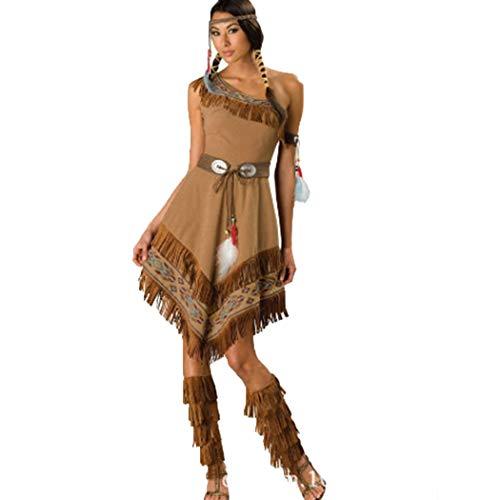 HANMAX Frauen Halloween Kostüme Cosplay Native American Princess Kostüm