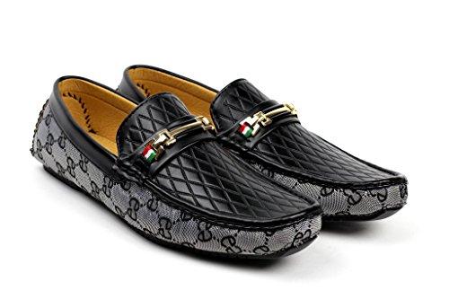 hommes à enfiler Créateur mocassins chaussures Décontracté bateau pont Mocassin JAS mode Noir