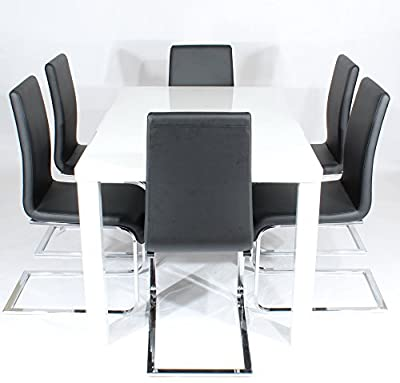 Charles Jacobs 1.5m Dining Table Set with 6 Black Chairs, Thick Solid Legs and White High Gloss MDF Top, 6 Seats - Premium Quality