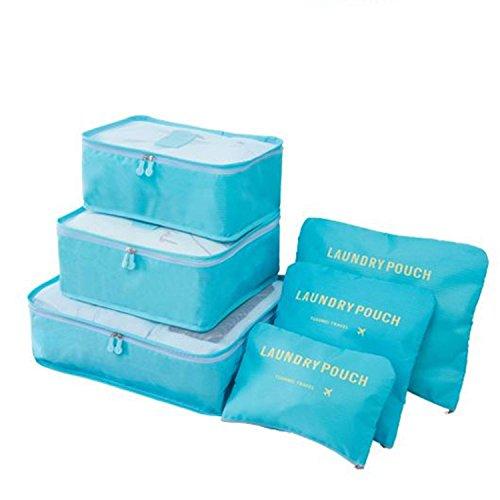 toyfun Verpackung Organizer Travel Light Staubbeutel Wasserdicht Schuh Organizer groß Medium klein Wäschekorb Kompression Beutel 6Set blau