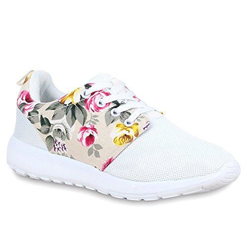 Damen Herren Sneaker Sport Schwarz Turn Runners mit Blumen Print in Mehreren Farben Schuhe 66439 Weiss 36 Flandell (Sneaker Mit Blumen, Frauen)
