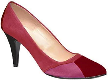 11sunshop Cesia - Zapatos de vestir de Ante para mujer rojo rojo 38