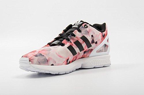 Basket Adidas ZX Flux Enfant Rose Motif Fleur Hibiscus Rose