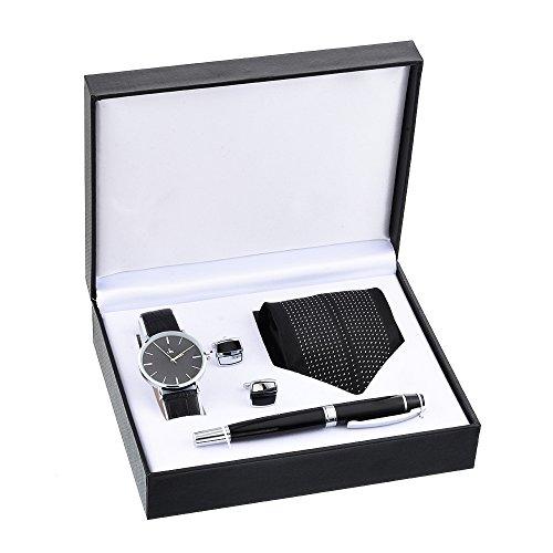Souarts Herren Geschenkset mit Armbanduhr Füllfederhalter und Krawatte und Manschettenknopf...