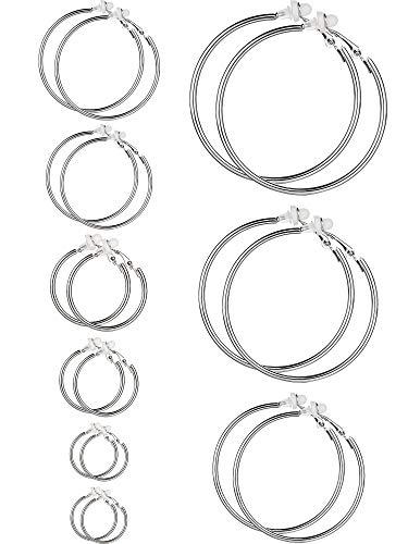 Ohrringe Clip On Ohrringe Nicht Piercing Ohrringe Set für Damen und Mädchen, Verschiedene Größen (Silber, 9 Paare) (Silber-clip-ohrringe)