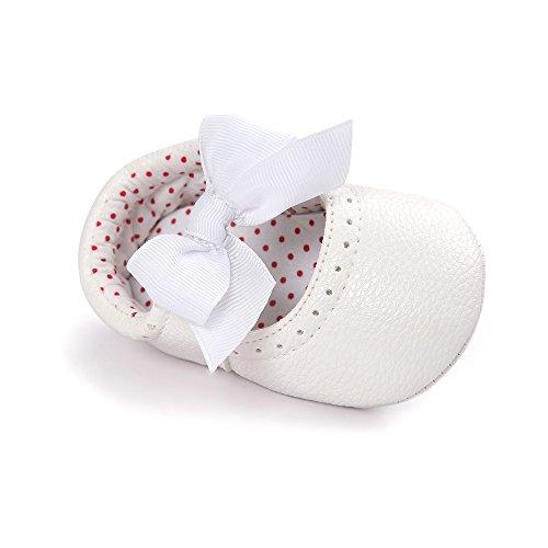Estamico Baby Mädchen Baumwolle Anti-Rutsch Weiche Sohle Weiße Taufschuhe Weiß (Leder)