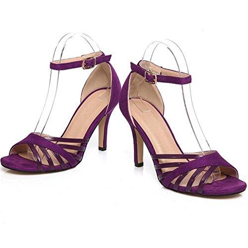 COOLCEPT Femmes Elegant Talon Aiguille Talon hauts Orteil ouvert Sandales Sangle de cheville Chaussures Violet
