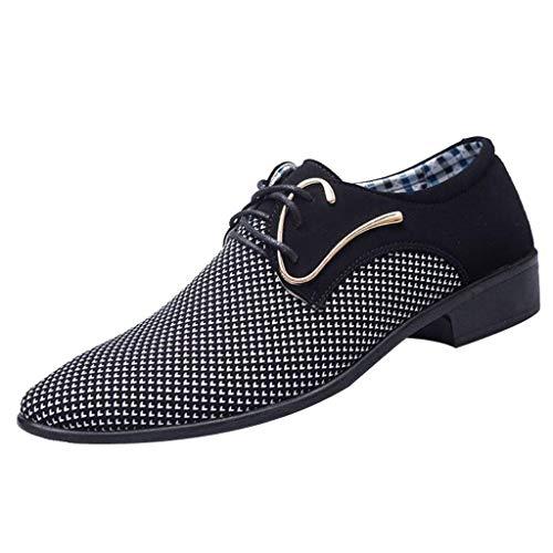 FNKDOR Schuhe Größe (39-47) Herren Geschäft Freizeitschuhe Britisches Tuch Berufsschuhe Spitz Schnürsenkel Anzugschuhe Schwarz 42 EU