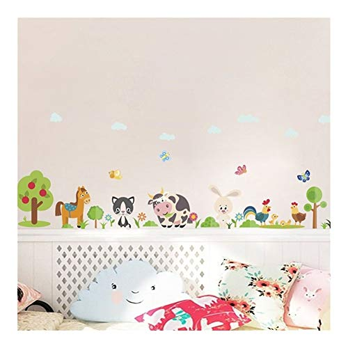 % Schöne Tiere Bauernhof Wandaufkleber for Hauptdekoration Kinderzimmer Schlafzimmer Kuh Pferd Schwein Huhn Wandbild Kunst DIY PVC Wandtattoos -