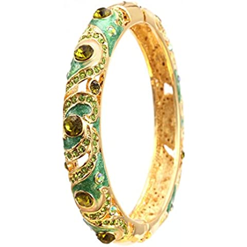 City Ouna® AAA hidráulico taladro verde Swarovski elementos cristal lujo pulsera para mujeres niñas regalo 18K Rose oro plateado aleación moda