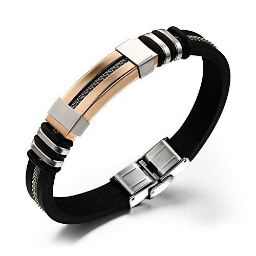 Unbekannt YF Edelstahl Titan Stahl Silikon Armband,Bangle Charme Zubehör Für Männer Personalisierte Schmuck An Freund Senden, Rose Gold