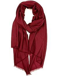 Prettystern - écharpe oversize Pashmina 100 fil frange courte  particulièrement fines et douces - beaucoup de ebfb4e46728