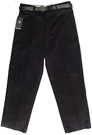 Bosworth Mens Cord Trousers Heavyweight Corduroy Cotton Formal Smart Casual Trouser Pants Zip Fly a Belt 2 Front Pockets 1 Back Pocket Regular Leg Black W34'' - Inside Leg L31''
