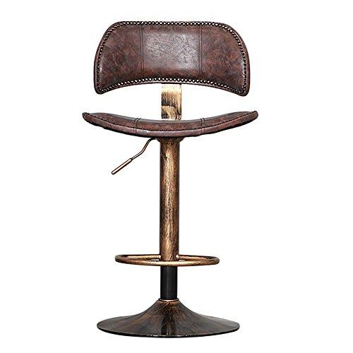 ALUK - High stools/Folding chairs Retro rustikale Designer Kitchen Bar Hocker, 360 Grad Swivel, Verstellbare Kupfer Stuhl Barhocker/Tischhocker (Farbe : Retro Brown, Größe : H90cm) (Swivel Holz Zurück Barhocker)