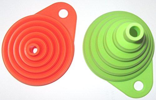 Silikon Falttrichter 4 Farben 1 Trichter Set = 2 Stück der Kleine ist 8cm flexibel und platzsparend verstaubar für Küche & Heimwerken (Orange / Grün) - 3