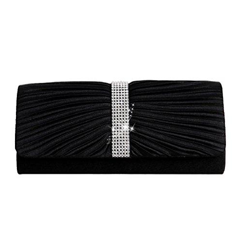 Dairyshop Donna Satin Diamante ha pieghettato il nero della borsa da sposa della borsa da sposa della frizione di sera (Nero) Nero