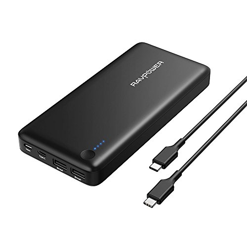 """RAVPower 26800mAh Powerbank Type-C Anschluss Externer Akku mit Type C Kabel (3 Anschlüsse, 30W USB C Ausgang, Zwei 2.4A iSmart 2.0 USB Anschlüsse) für Smartphones iphone 8 / X, Macbook 12"""", Tablet und weitere"""