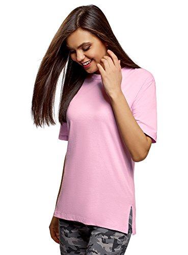 oodji Ultra Mujer Camiseta Holgada con Cuello Redondo sin Etiqueta, Ro