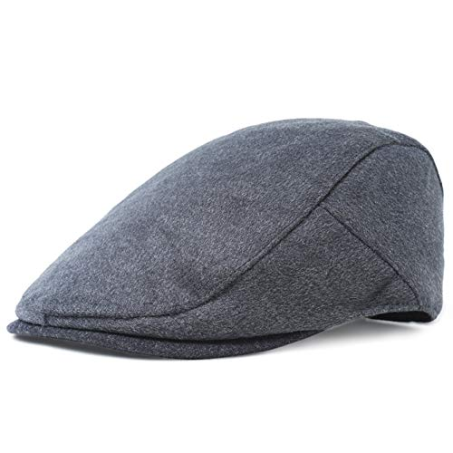 Herren Schiebermütze Gatsby Schirmmütze Newsboy Flat Cap Baskenmütze 1920 Stil Gatsby Kostüm Accessoires (Dunkelgrau, Large) ()