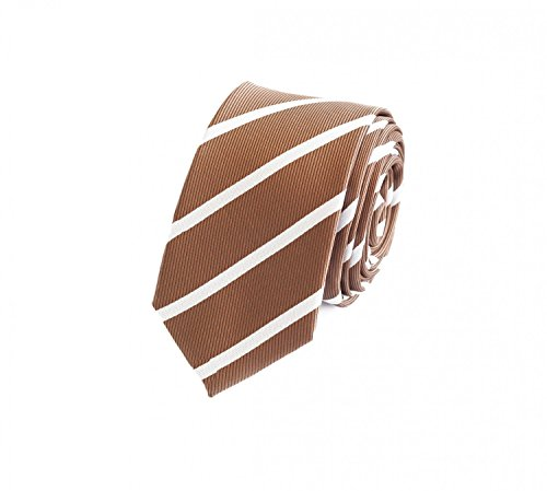 Rosa, Braun Gestreifte Krawatte (Fabio Farini Gestreifte Krawatte 6cm Breite in verschiedenen Farben für Büro Verein Hochzeit Weihnachten hellbraun gold weiß)