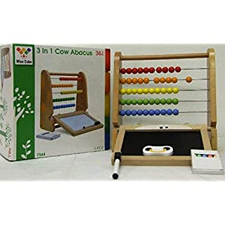 Allkindathings  Kids Wooden 3-in-1 Toy with Abacus Chalkboard Whiteboard with Coloured Chalk