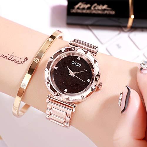 Lady Mosaik (Mode Sternenhimmel Mosaik Diamant Uhr Womens Star Quarz-Armbanduhr Edelstahlband Gürtel Lady Watch, f)