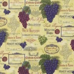 Tissu en coton m Robert Kaufman-Vineyard Collection Champagne