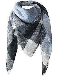 64d09a9f00ef MRULIC Echarpes foulards femme Couverture à carreaux pour femmes hiver  chaud cape châle oversize à carreaux