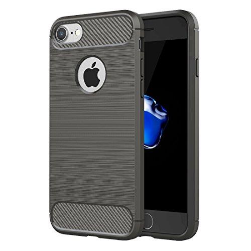 iPhone 8 Plus, 7 Plus robuste Rüstung harten Fall, Fone-Stuff® - Kohlefaser gebürstete Textur, Tropfenschutz, Anti-Kratzer, stoßfeste Schutzhülle in schwarz Grey