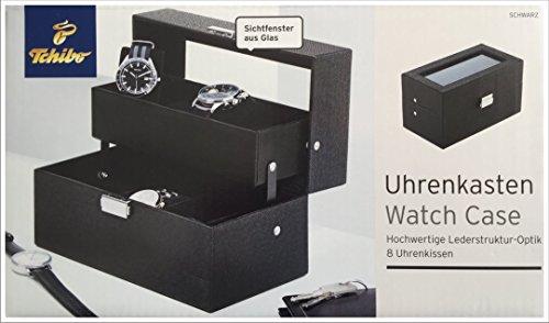 TCM Tchibo Uhrenkasten Uhrenbox Schmuckkasten in hochwertiger Lederoptik schwarz