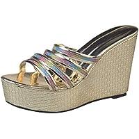 Zapatos De Moda para Mujer CuñAs De Color Cuadrados Bling Zapatilla Peep Toe