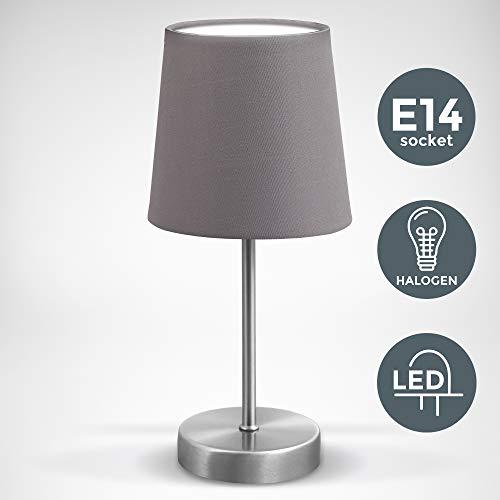 LED Tischleuchte | Stoff grau, matt-nickel | E14 | Tischlampe, Nachttischlampe mit Schalter | IP20
