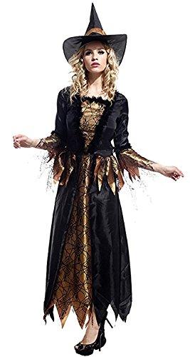 Inception Pro Infinite Einheitsgröße - Kostüm - Verkleidung - Karneval - Halloween - Hexe - Megera - MAGA - Mittelalter - Schwarz - Erwachsene - Frau - Mädchen (Frau Halloween-kostüme Hexe)