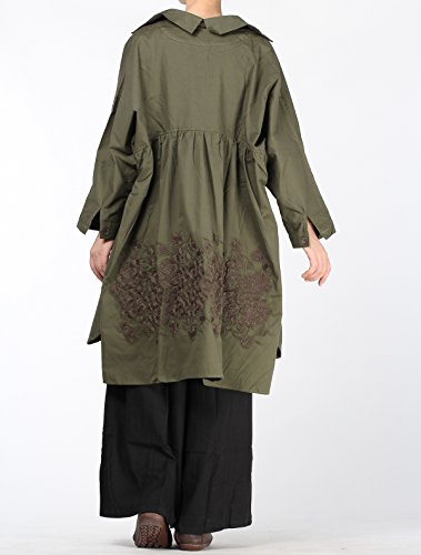 Voguees Women's Back Flower Printed Plus Size Shirt Blouse Vert-Style 2