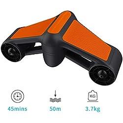 QLPP Scooter sous-Marin, Scooter de Natation à Double Vitesse, avec Deux hélices, Support de caméra Compatible, Profondeur de plongée extrême de 50 mètres,A