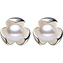 Hosaire Pendientes de Plata de Lucky Clover Perla Moda Muchachas de las Mujeres Pendientes de Botón Nuevo Estilo para Mujeres de la Joyería Accesorios 2017