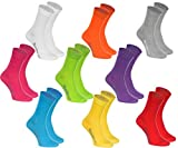 9 pairs of Cotton Socks in white, purple, grey, orange, red, yellow, turquoise, green, fuchsia, highest quality of Cotton Socks with OEKO-TEX certificate, sizes: 10-11,5