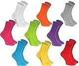 9 paires de Chaussettes de Coton dans les couleurs blanc, violet, gris, orange, rouge, jaune, vert mer, vert, fuchsia,le coton certifié avec Oeko-Tex, tailles 39 40 41