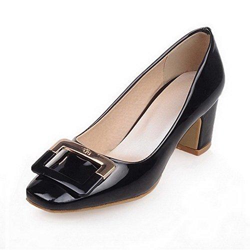 VogueZone009 Damen Ziehen Auf Quadratisch Zehe Pu Leder Eingelegt Pumps Schuhe Schwarz