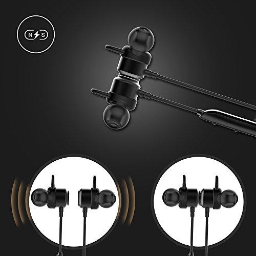 Vigorun Bluetooth Kopfhörer Y3 Kabellos Stereo Ohrhörer In-Ear Magnetisches Schnurlose Sport Ohrhörer Bluetooth V4.2 IPX6 Wasserdicht CVC 6.0 Noise Cancellation, für Sport und Workout(Schwarz) - 5