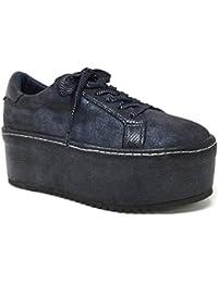 Angkorly - Scarpe Moda Sneaker Zeppe Donna Finitura Cuciture Impunture  Stampa Serpente Tacco Zeppa Piattaforma 7 44a40d42ac6