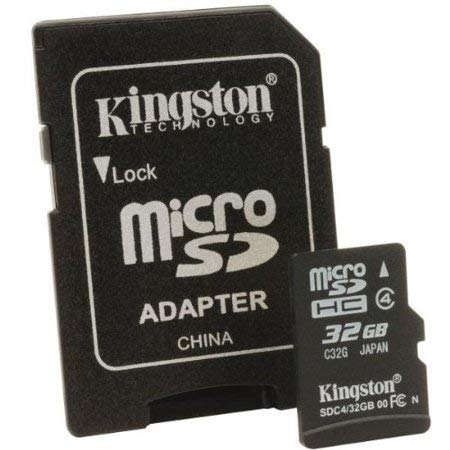 Kingston Micro SDHC 32GB, Class 4 + Adapter (Microsd Class 4 Kingston 32gb)